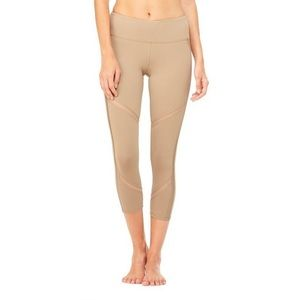 Alo Yoga beige cropped leggings with altered waist